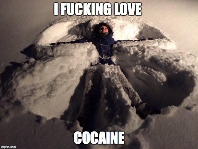 i fucking love cocaine, snow angel, meme
