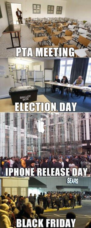 pat meeting, election day, iphone release day, black friday