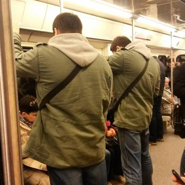 when people are dressed exactly the same in public, coincidence