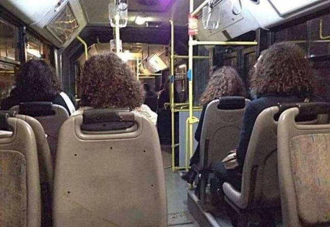 another glitch in the matrix, identical hairdos