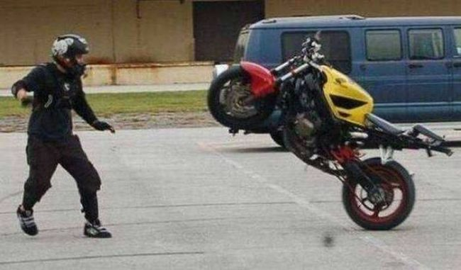 in the epic battle between man and machine, motorcycle threatened motorcyclist