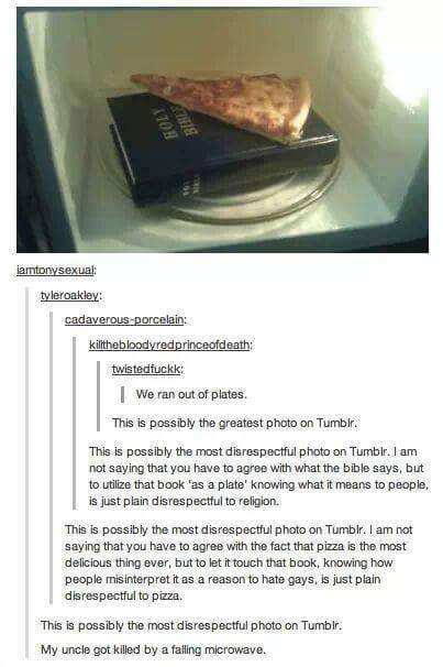 people on tumblr are offended by this photo of a piece of pizza on a bible in a microwave
