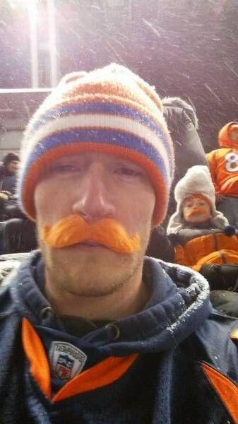 orange moustache photobomb