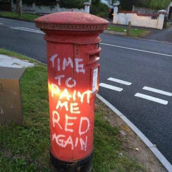 time to paint me red again, how to get the government to repaint mailboxes