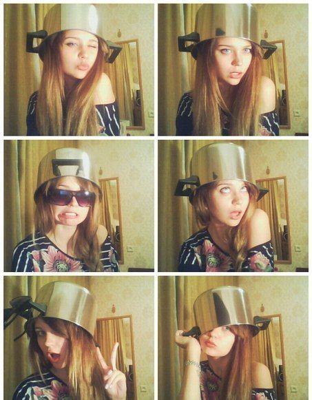 pot not even once, girl posing with cooking pot on her head