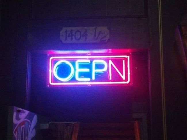neon sign fail, oepn, spelling