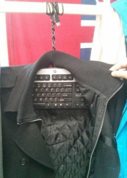 keyboard as coat hanger, wtf