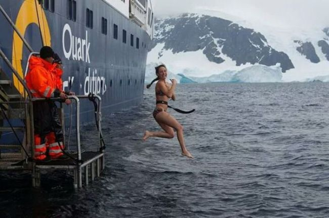 swimming in the arctic, epic boat dive