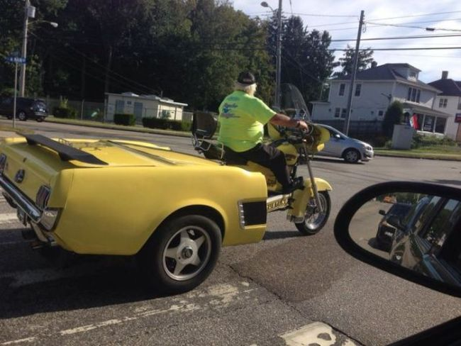 when you can't decide between a car or a motorcycle, wtf