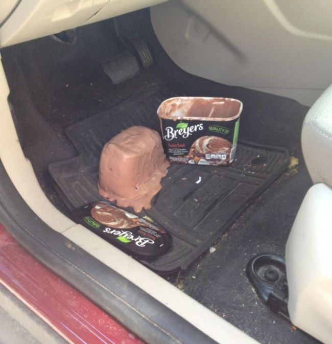 breyers ice cream disaster in your car