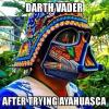 darth vader after trying ayahuasca, psychedelic star wars helmet