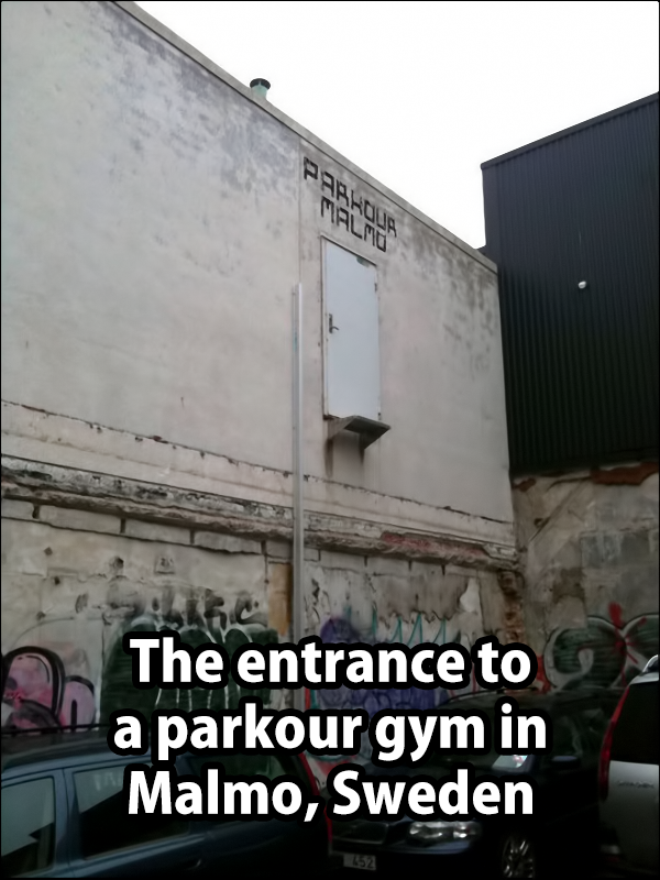 the entrance to a parkour gym in malmo sweden