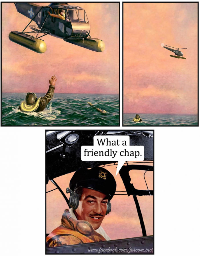 what a friendly chap, helicopter sees shipwrecked guy in ocean waving