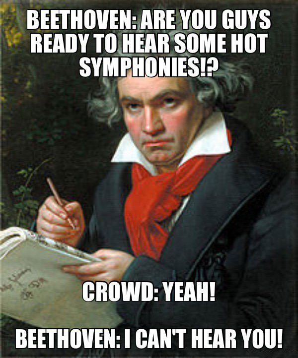 beethoven: are you guys ready to hear some symphonies!?, crowd: yeah!, beethoven: i can't hear you!, meme