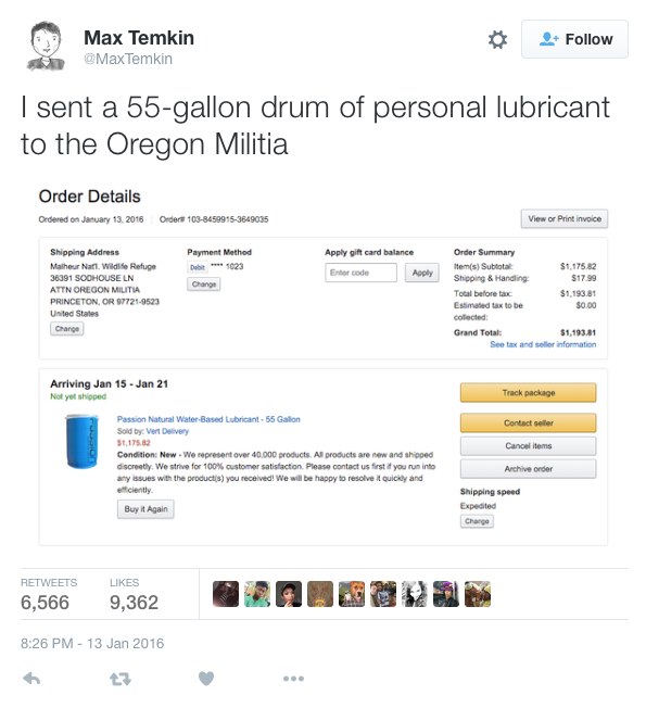 i sent a 55-gallon drum of personal lubricant to the oregon militia