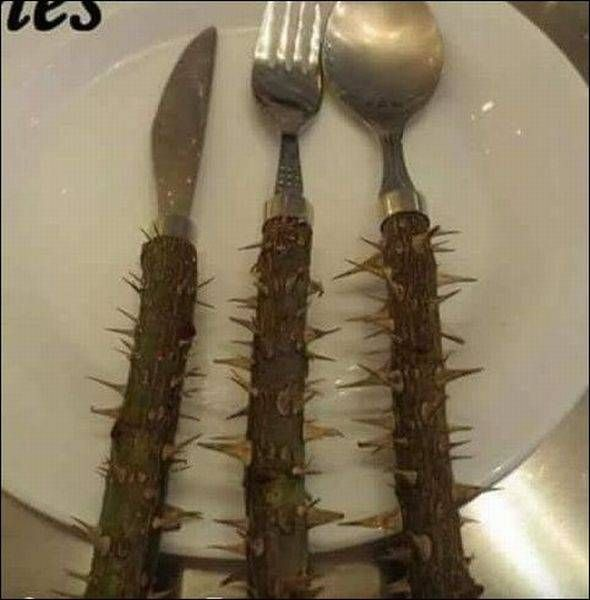 a cutlery set to help you lose weight, spikes handles on fork knife and spoon