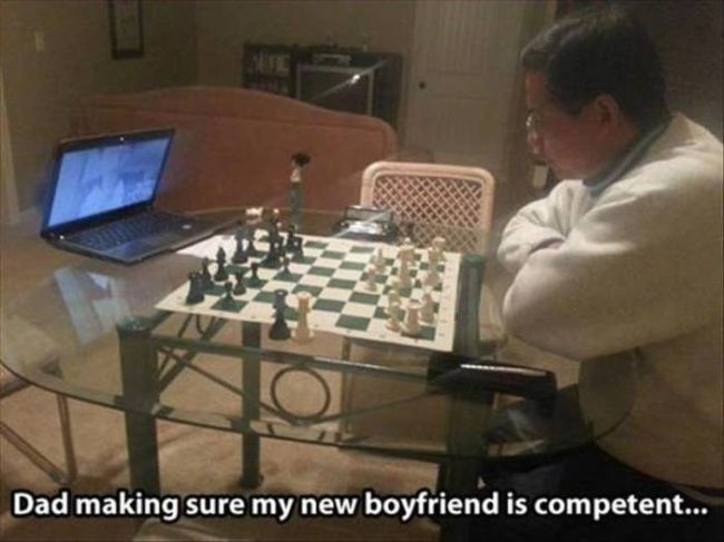 this is my dad putting my new boyfriend through a test, chess over the internet irl