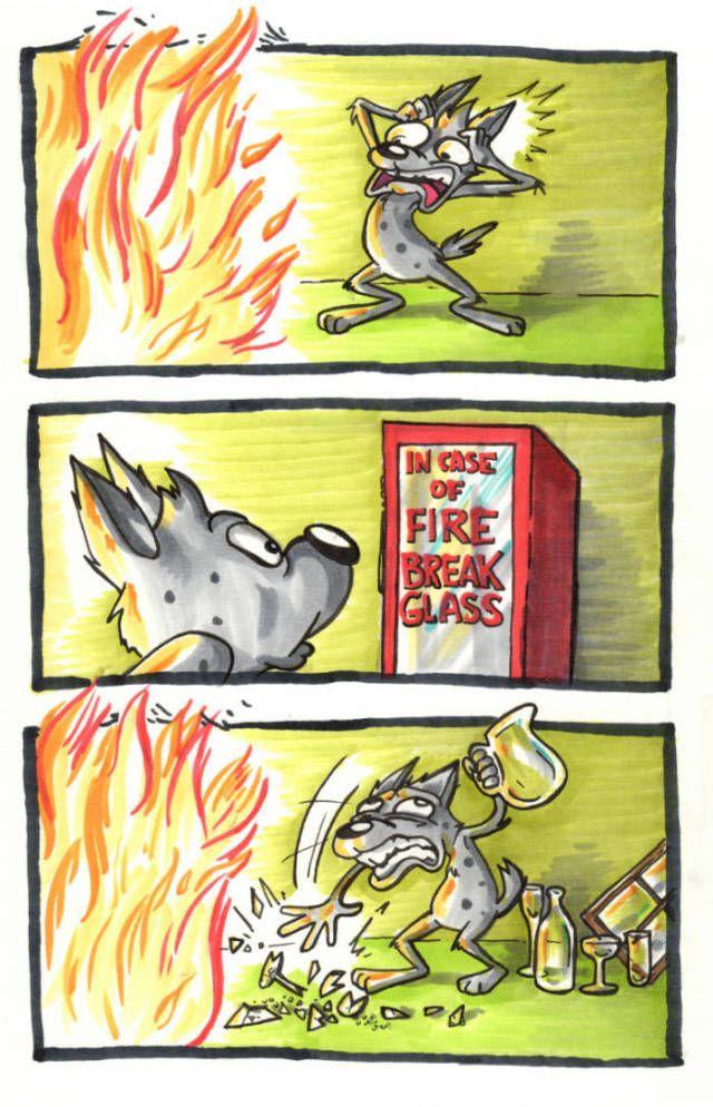 in case of fire break glass, comic
