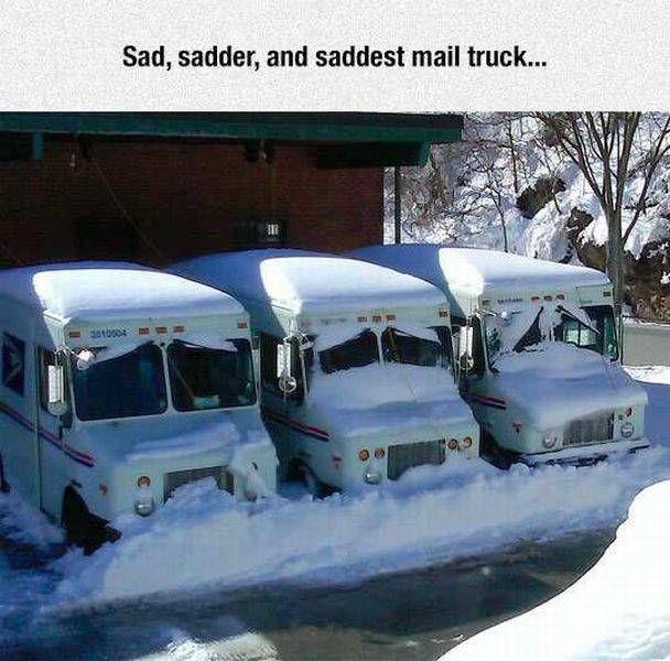 sad sadder and saddest mail truck, snow makes these trucks unhappy