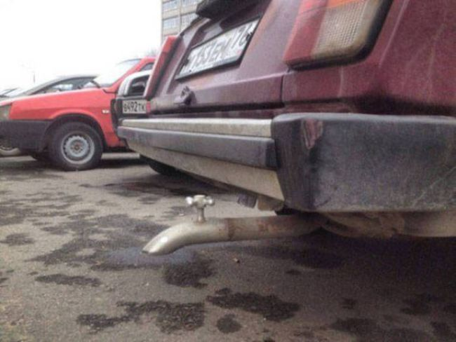 it's okay i'm an engineer, bathtub faucet as car's tail pipe