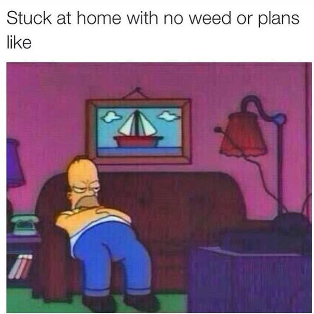 stuck at home with no weed or plans like, homer simpson slouching on the couch