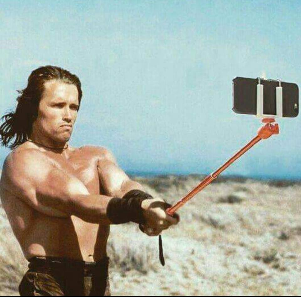 conan the barbarian taking a selfie, arnold schwarzenegger
