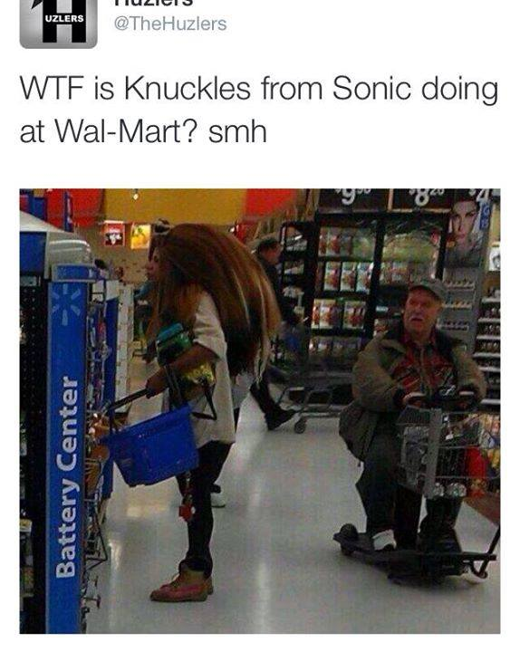wtf is knuckles from sonic doing at wal-mart? smh