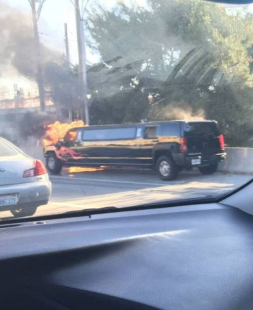 when your flame paint job goes up in flames, hummer limo on fire