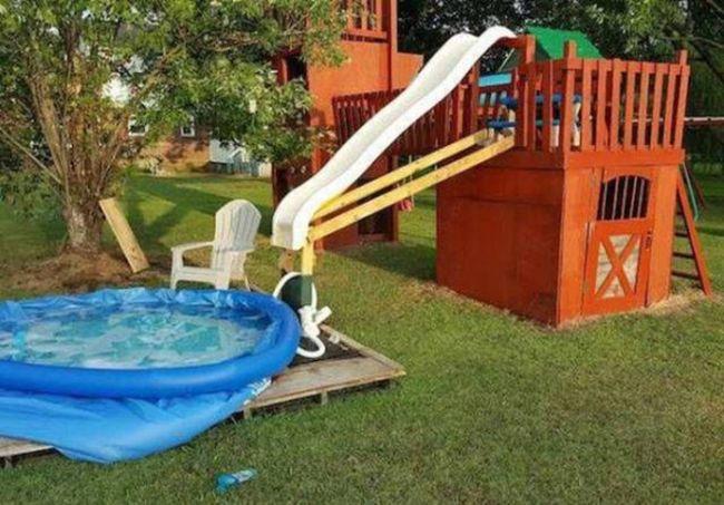 home made water slide, it's okay i'm an engineer
