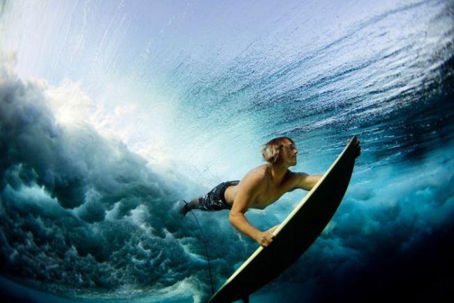surfing underwater, cool ocean photograph
