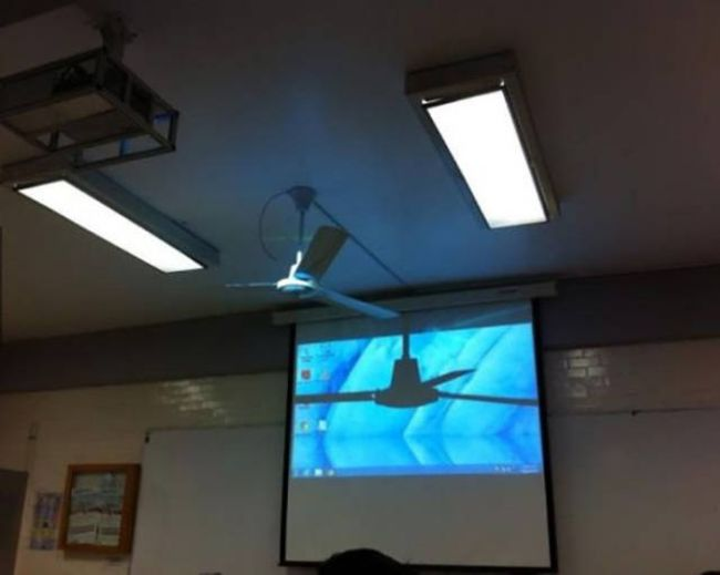 worst ceiling fan ever, projector placed behind ceiling fan