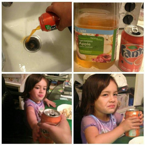 tricking your toddler into drinking apple juice instead of fanta, skeptical face, lol