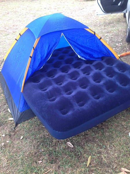 when you spend all of your money on the inflatable mattress and skimp on the tent, tent is too small for the queen sized camping bed