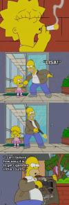 i can't believe how easy it is to get cigarettes in this country, lisa caught smoking a cigarette so homer shoots it out