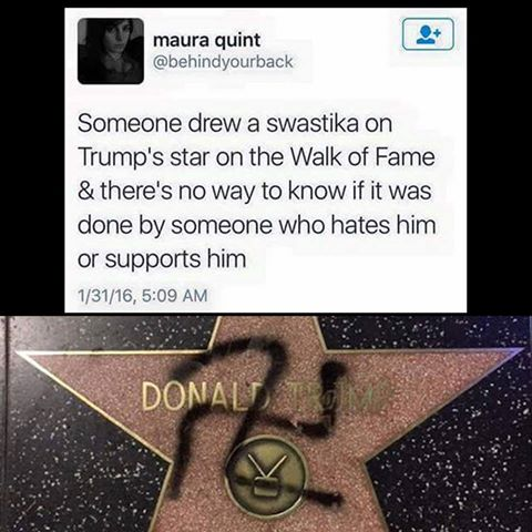 someone drew a swastika on trump's star on the walk of fame & there's no way to know if it was done by someone who hates or supports him