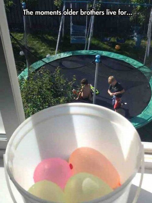 the moments older brothers live for, water balloons above the trampoline