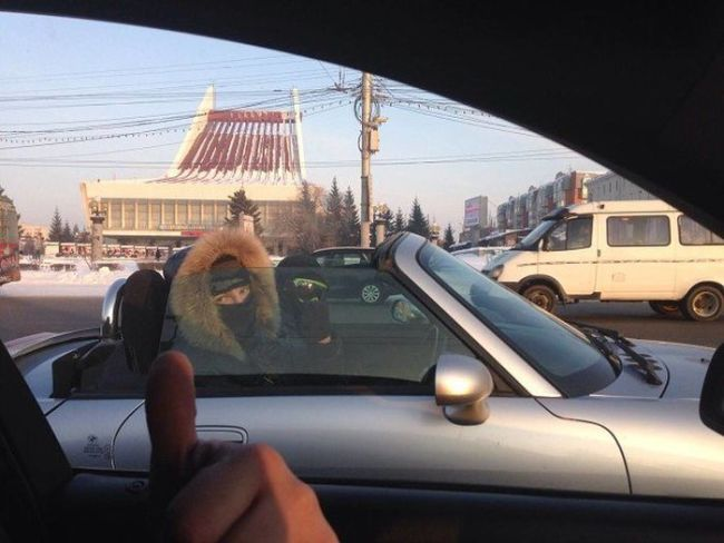 driving your convertible with the top down in the winter, fail
