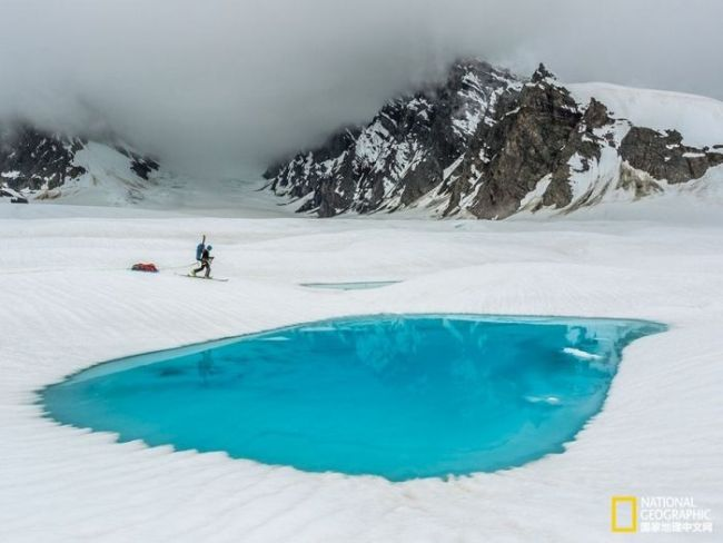 perfect antarctic swimming pool shaped puddle