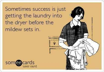 sometimes success is just getting the laundry into the dryer before the mildew sets in, ecard