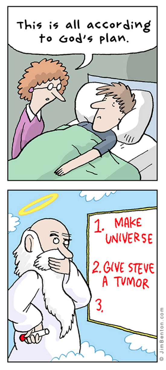 this is all according to god's plan, make universe, give steve a tumor, comic