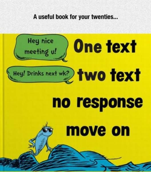 a useful book for your twenties, one text two test no response move on, hey nice meeting you, hey drinks next week?
