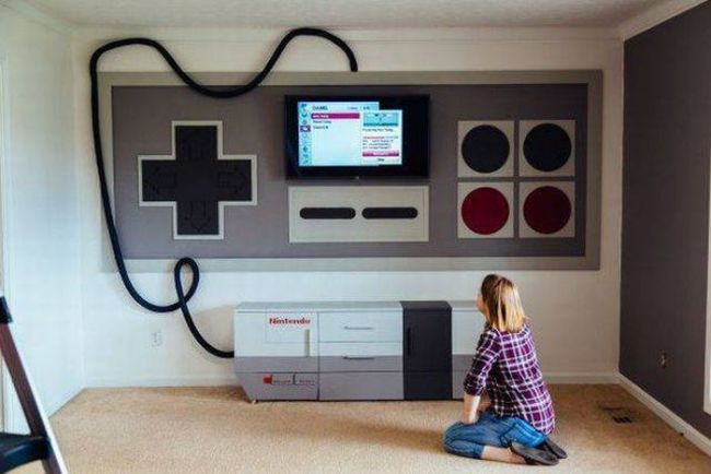 home entertainment system built to look like the original nintendo console