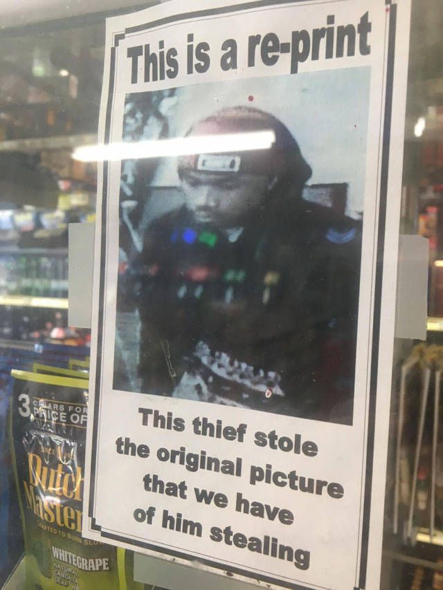 the thief stole the original picture that we have of him stealing, this is a re-print
