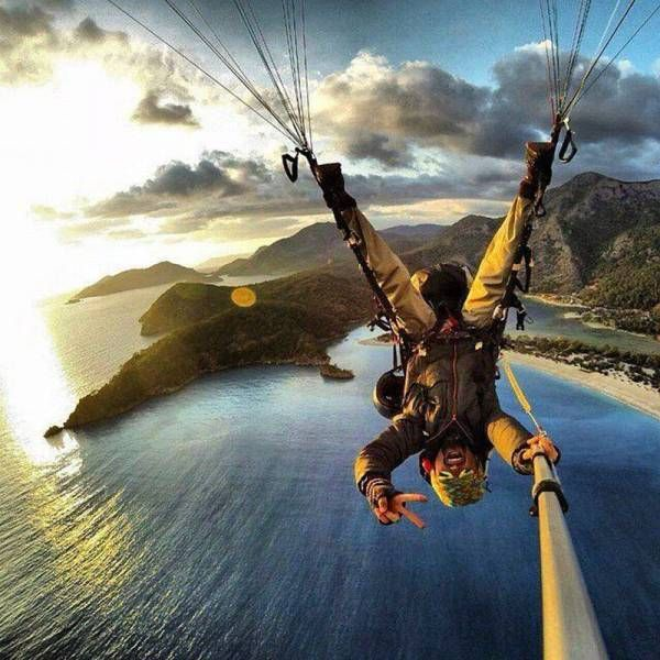 upside down parachuting with a selfie stick