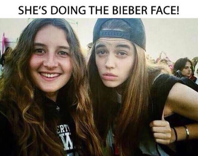 she's doing the bieber face
