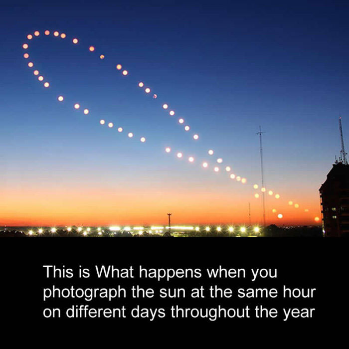 this is what happens when you photograph the sun at the same hour on different days throughout the year