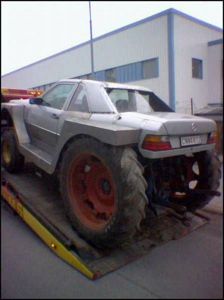 car with tractor wheels, wtf