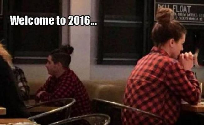 welcome to 2016, plaid shirt and hair bun on both guy and girl