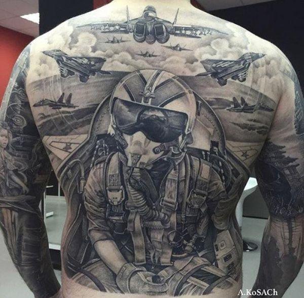 full back war plane cockpit and pilot tattoo