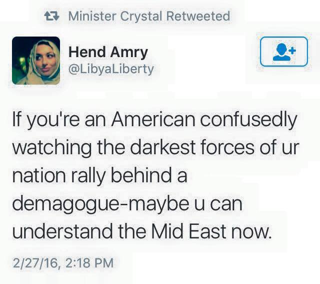 if you're an american confusedly watching the darkest forces of ur nation rally behind a demagogue, maybe you can understand the middle east now
